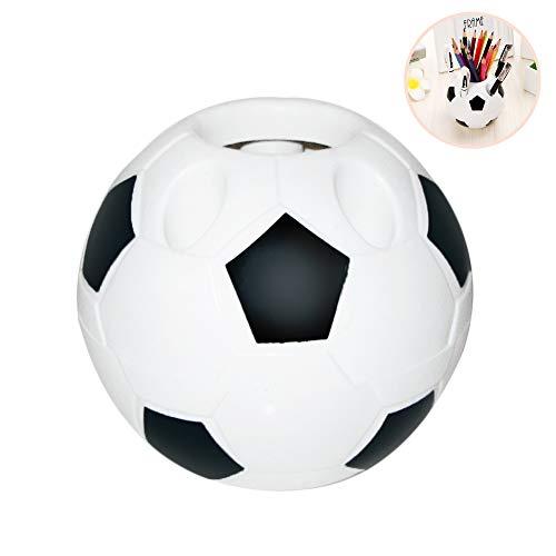 Bweele Soporte para bolígrafo de fútbol, papelería Organizador de lápices Juegos de Escritorio Oficina de la Escuela Contenedor Redondo Caja de Escritorio con Estilo de fútbol Diseño para niños