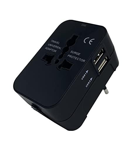 Adaptador Universal Enchufe y Doble Puerto de Carga USB de Corriente de Pared Adaptador portátil Ligero de Viaje.