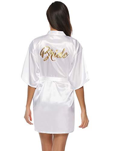Aibrou Damen Kimono Morgenmantel Kurz Satin Robe Bademantel Nachtwäsche Sleepwear V Ausschnitt mit Gürtel für Party Hochzeit Braut Weiß M