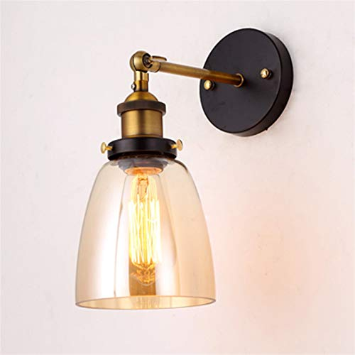 XWZH Lámpara de Pared de ático Antigua Vintage Vidrio Pared luminaria montada lámpara Moderno Loft Estilo Retro labrado Hierro Industrial Luces industriales Corredor de Noche de Cama