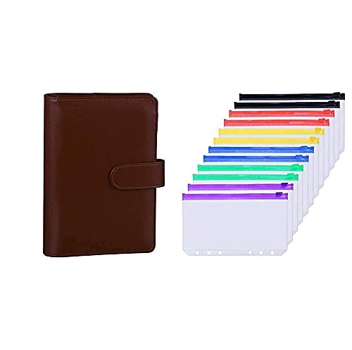 Antner A6 PU Leather Notebook Binder (Brown) Bundle   12 Pieces Multicolor Zipper A6 Binder Pockets