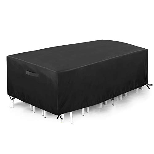 king do way Funda Mesa Jardin 230x165x80 cm,Conjuntos de Muebles Cubierta Impermeable para Sofa de Jardin, al Aire Libre, Patio, Plazas Funda para Sofa de Esquina, 420D, in PVC