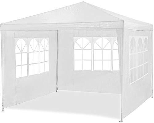 MaxxGarden 3x4m Festzelt -Pavillon -Weiß Gartenzelt -Wasserdicht- Bierzelt -Stahlkonstruktion mit extra dickem Stahlgestänge Camping Strand geeignet komplett verschließbar