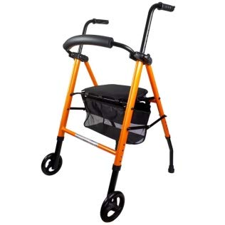 Mobiclinic, Modelo Nerón, Andador para minusvalidos, ancianos, mayores o adultos, de aluminio, ligero, plegable, con asiento, cesta y 2 ruedas, Color Naranja