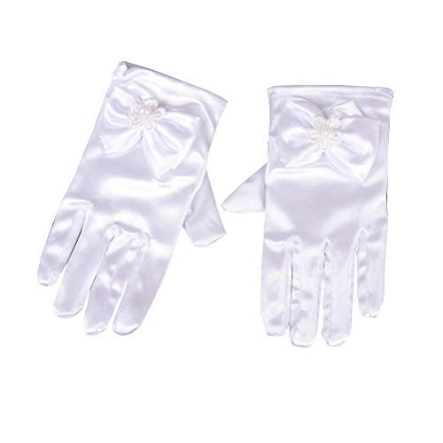 Inception Pro Infinite - Guantes de dama de nia elsticos - satn - laminados - lazo - perla - cortos - Ideal como regalo de Navidad y cumpleaos - Disfraz - blanco