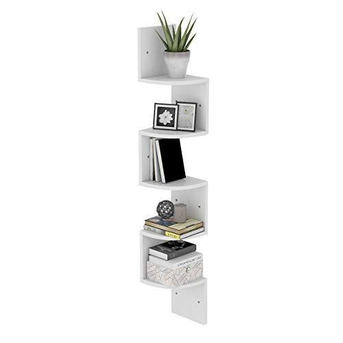 Radelldar 5 Ablagen Eckregal Weiß Schweberegal Zickzackregal Holz für Küche, Schlafzimmer, Wohnzimmer, Arbeitszimmer, Büro, (Weiß)