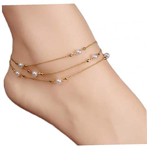 ZYCX123 Borla de la Perla en Forma de Cadena para el Tobillo de la Sandalia de la Playa Descalzo para el Tobillo del pie para Muchachas de Las Mujeres joyería Pies - Oro