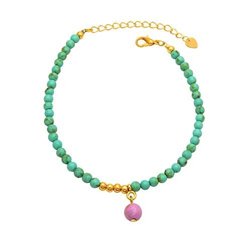 Damen Fußkette Jadeperlen Türkis 4,4mm breit 21-26 cm lang mit einer 8mm Jadeperle Pink als Anhänger Fußkettchen Armkette Anklet Gold nickelfrei