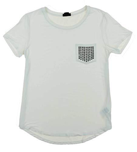 NWT DKNY Women's Scoop Neck Bling Pocket Tee Short Sleeve T-Shirt White Size M