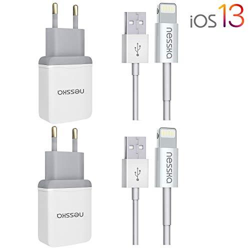 NessKa® Original 4in1 Ladeset Schnellladegerät | 2X 2A Netzteil + 2X 1 Meter USB Ladekabel passend für Apple iPhone 11 / Pro/XS/XR/X/Max / 8/7 / 6s / 6 / Plus / 5s / iPad/iPod | iOS 13