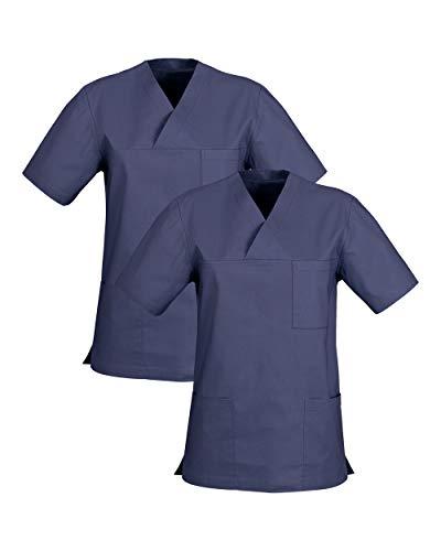 CLINIC DRESS Schlupfkasack Doppelpack Kasacks für Damen und Herren Schlupfhemd für die Pflege oder Medizin in 100% Baumwolle 60 Grad Wäsche Light Navy M