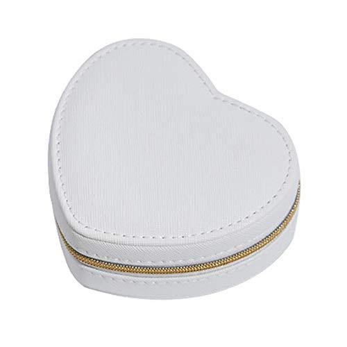 Organizador portátil de terciopelo de piel sintética con diseño de corazón