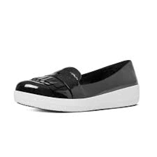 FitFlop Womens Sneakerloafer Fringey Patent Shoes, Black/White, US 6.5