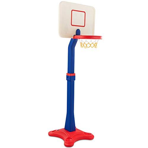 COSTWAY Basketballständer Kinder, Basketballkorb mit Ständer, Basketballanlage 8 stufig höhenverstellbarer, Korbanlage mit Rillen, geeignet für Innen- und Außenbereiche