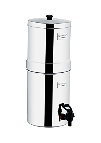 Butterfly Stainless Steel Water Filter, 34 liters with Triple Candle, Silver, Rust Free, Premium Quality