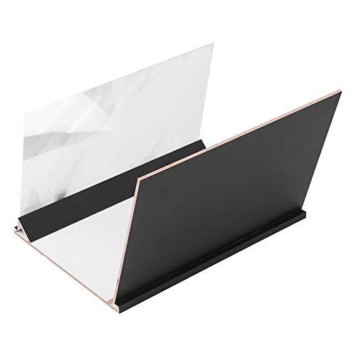 ASHATA Handy-Bildschirmverstärker, Tragbare 8 Zoll Lupe Mobile Phone Screen Projection Magnifier,Holzmaserung Augenschutz HD Display Verstärker mit Ständerhalter für Geschenk Kinder(Dünn)