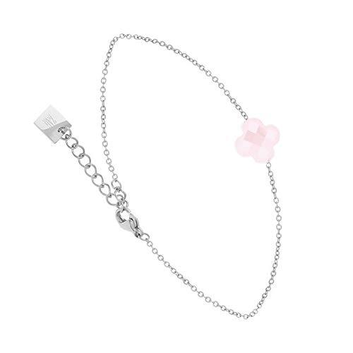 Zag Bijoux - Pulsera de trébol facetado rosa (plata)