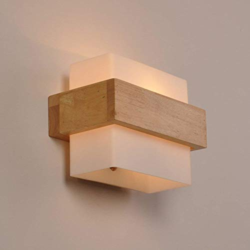 Wandleuchte Holz E27 Wandlampe für Wohnzimmer Schlafzimmer Lichter Lampen Korridor Wandbeleuchtung Nachtlicht (A)