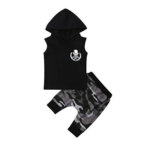 Loalirando Baby Jungen Kleidung Set Ärmellos Hoodie Tops+ Kurze Hosen/Shorts Camouflage Anzug Sommer Outfits (6-12 Monate, Gentleman)