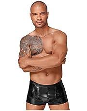Noir Handmade Wetlook shorts met PVC sierplooien - L - zwart, 1 stuk (1 x 1 milliliter)