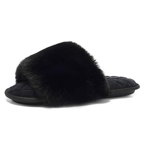 FANTURE Women's Furry Faux Fur Slippers Cozy Memory Foam House Slippers Soft Comfy Flat Slide...