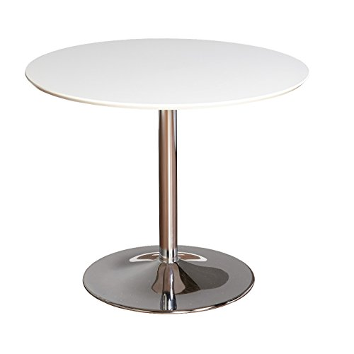 Hillboro Round Table with Chrome Plated Leg - Buylateral (White)