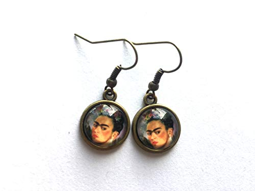 Brass earrings with Frida Kahlo pendants, studs or hanging, vintage inspired jewelry, Selma Dreams gifts for her