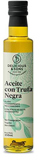 Delicious & Sons Aceite de Oliva Virgen Extra con Trufa Negra - Sin Transgénicos - Sin Gluten - Apto para dietas Paleo y Keto 250ml