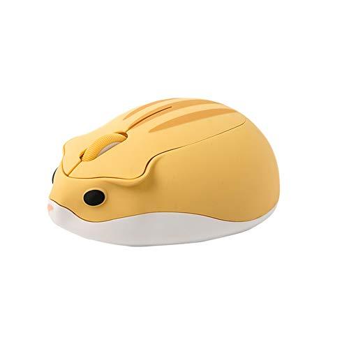 マウス ワイヤレスマウス 2.4GHz 人間工学 高精度 USB式 小型 持ち運び便利 無線マウス ポータブル ハムスターの形 Mac/Surface/Windowsに対応 (イエロー)