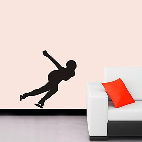 AKmene Calcomanía de Patinaje de Velocidad, póster de Deportes de Patinaje, calcomanía de Vinilo para Pared, Mural Decorativo 58x67cm