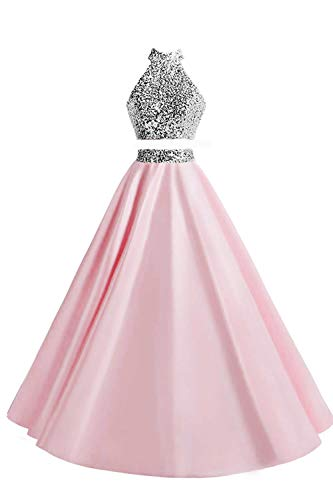 MEILISAY Women's Beaded 2 Pieces Prom Dresses Long Halter Satin Formal Evening Gowns with Pockets M005 Pink US6