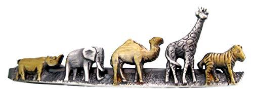 Krawattennadel Klammer Zoo Zebra Giraffe Kamel Elefant + Nashorn antikbicolor matt Made in Germany + brauner Exklusivbox