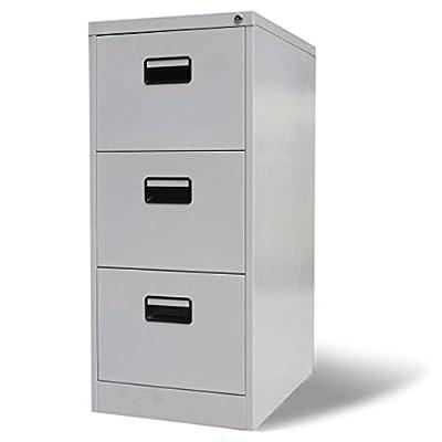 vidaXL File Cabinet w/ 3 Drawers Gray Metal Home Office Storage Organizer