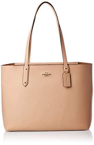 Coach - Bolso de hombro grande para mujer, dos asas, piel martillada, crema, 43,1 x 28 x 15,2 cm