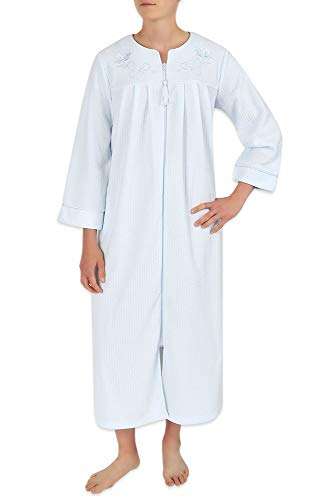 Miss Elaine Women's Long Brushed Back Terry Robe with Two Side Pockets, Long Sleeves, and a Detailed Embroidery Trim Blue