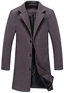 Mens Work Fall/Winter Plus Size Long Trench Coat, Solid Colored Fantastic Beasts Turndown Long Sleeve Cotton/Polyester Arm...