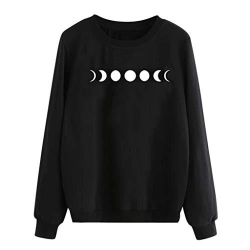 Dasongff dames punk lange mouwen hoodie occult vintage maan sterren gothic T-shirt capuchon sweatshirt zwart punk hoodie gebreid vest top shirt vrije tijd Large B