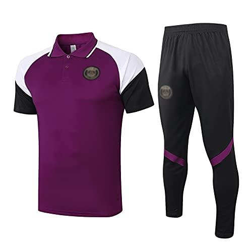 oein Sudadera de fútbol para hombre 2021 con diseño de club de fútbol para hombre de primavera y otoño, transpirable, para entrenamiento deportivo, unisex (color: morado, tamaño: L)