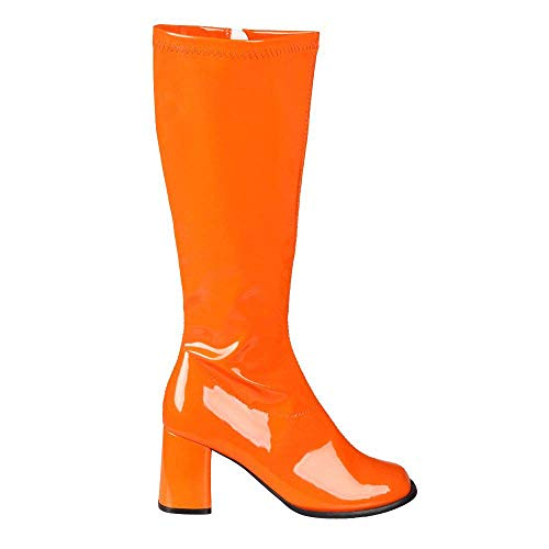 Boland 46244 - Stiefel Retro, Orange, langer Schaft, Synthetik, Blockabsatz 8 cm, Reisverschluss, Spacy, Schlager, cooler Look, Karneval, Halloween, Fasching, Mottoparty, Theater, Accessoire