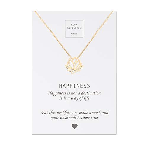 LUUK LIFESTYLE Edelstahl Halskette mit Lotusblüte Anhänger und Happiness Spruchkarte, Glücksbringer, Damen Schmuck, gold