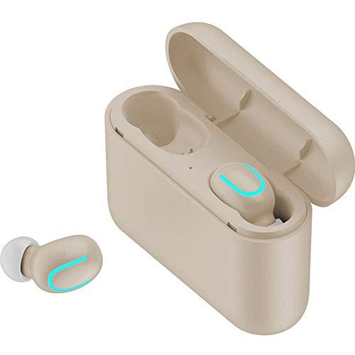 RGFITNESS Auriculares Bluetooth Deportivos, Impermeable IPX7 In-Ear Cascos Inalámbricos,Auricular Running Deporte Correr con Micrófono,Cancelación de Ruido,Cream-Two