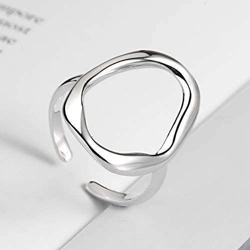 MENGzhuHSA Moda AnenJery Minimalista Irregular Hollow Ellipse Gold Silver Color Anillo geométrico para Mujeres Anillos Abiertos S-R711 Accesorios de niña (Gem Color : Silver, Ring Size : Resizable)
