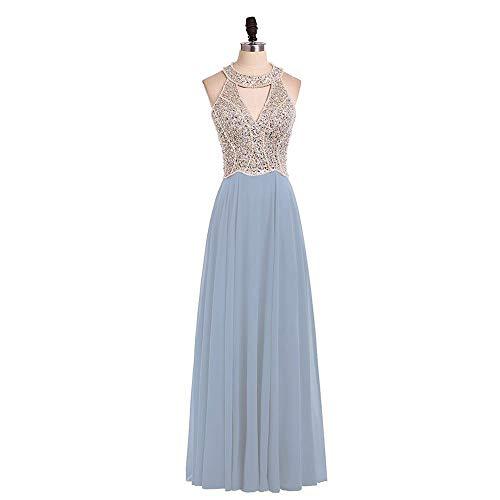 Ballkleid,Lange Abendkleider Royal Blue Chiffon Eine Linie Formales Langes Kleid Halfter-L_48