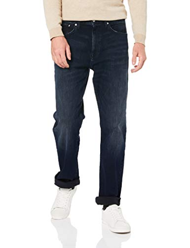 Calvin Klein Men's Relaxed Straight Jeans, Boston Blue/Black, 34W x 30L