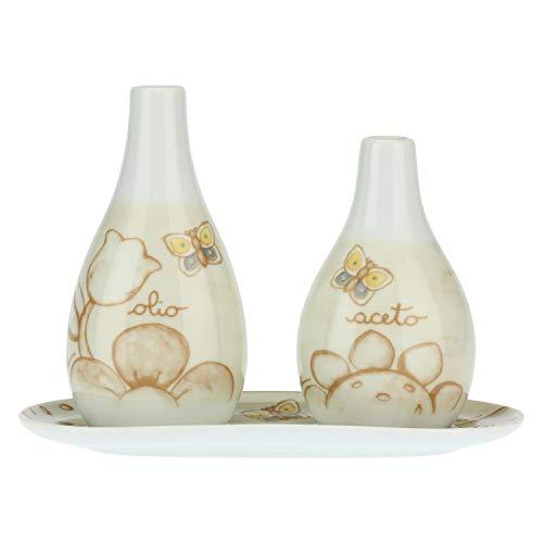 THUN - Set Olio e Aceto Decorati con Farfalle e Fiori - con Vassoio Decorato - Accessori Cucina - Linea Elegance - Porcellana - 7,5 x 8,5 x 22 h cm