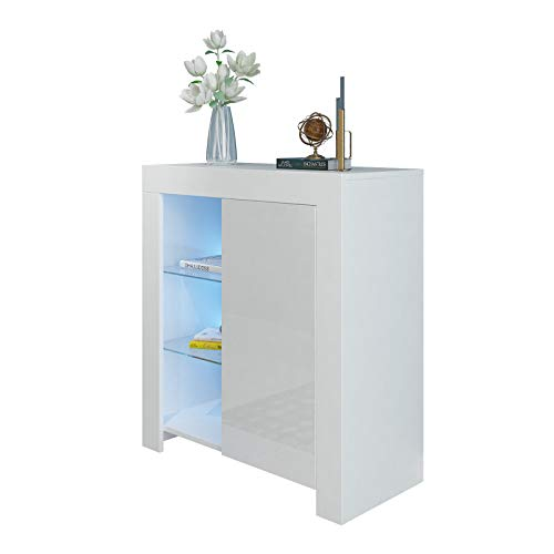 Artist Hand Sideboard Cabinet Cupboard Unit With Matt Body & High Gloss White Door Glass Shelves Display Cabinet Unit For Living Room Dining Room Furniture W/Free LED Light