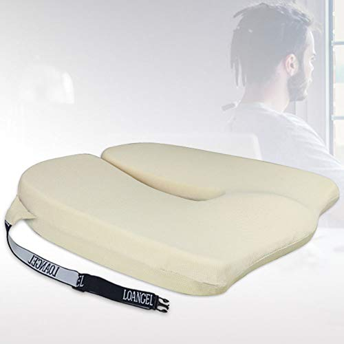 TBBA Car Seat Cushion Pad, Memory Foam Wedge Cushion, for Back Support, Posture Correction, Pain Relief And Height Boost - Orthopaedic Seat Pad with Washable,beige