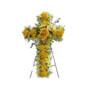 Deluxe Silk Flower Cross in Yellow for Grave-site Presentation in Remembrance of Loved Ones. Easel Mounted
