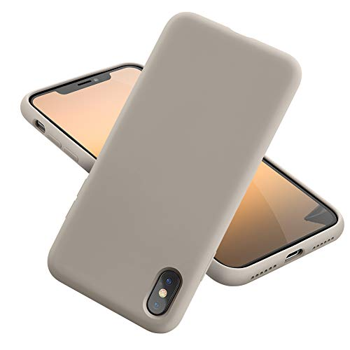 MCUCA iPhone Xs Max Case Silicone Gel Rubber Bumper Case,Ultra-Thin Soft Microfiber Lined Full Body Protective Case Cover for Apple iPhone Xs Max[2020 Updated Version] (Stone)