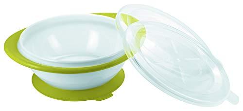 NUK 10255199 Easy Learning Esslernschale für Kinder ab 6 Monaten mit Saugnapf, zwei Deckel, BPA frei, Violett
